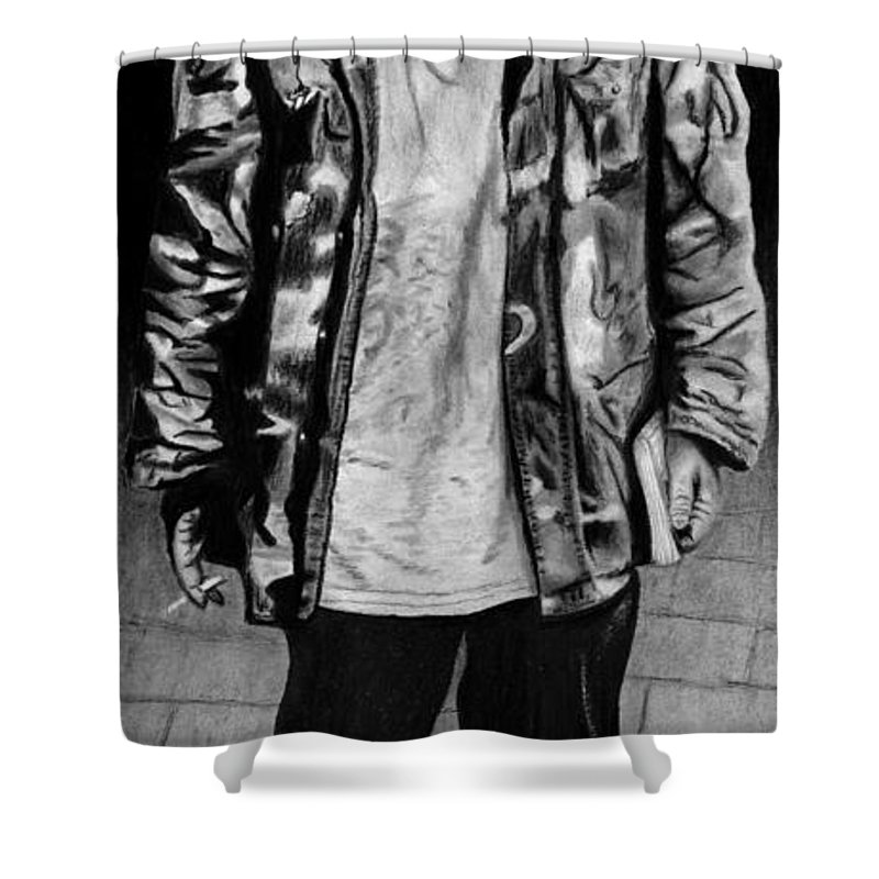 Wondering Soldier Shower Curtain featuring the drawing Wondering Soldier by Peter Piatt