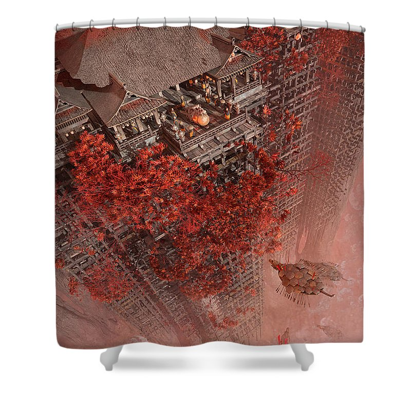 Landscape Shower Curtain featuring the digital art Wonders Liyomizu by Te Hu