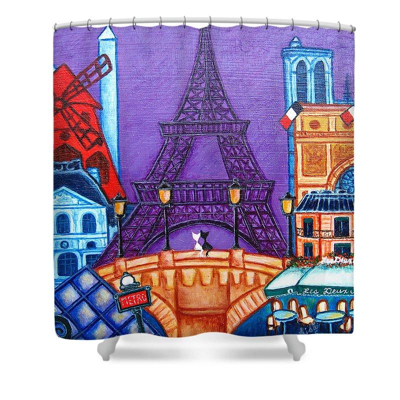 Paris Shower Curtain featuring the painting Wonders Of Paris by Lisa Lorenz