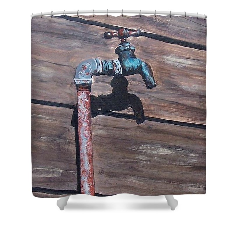 Still Life Metal Old Wood Shower Curtain featuring the painting Wood And Metal by Natalia Tejera