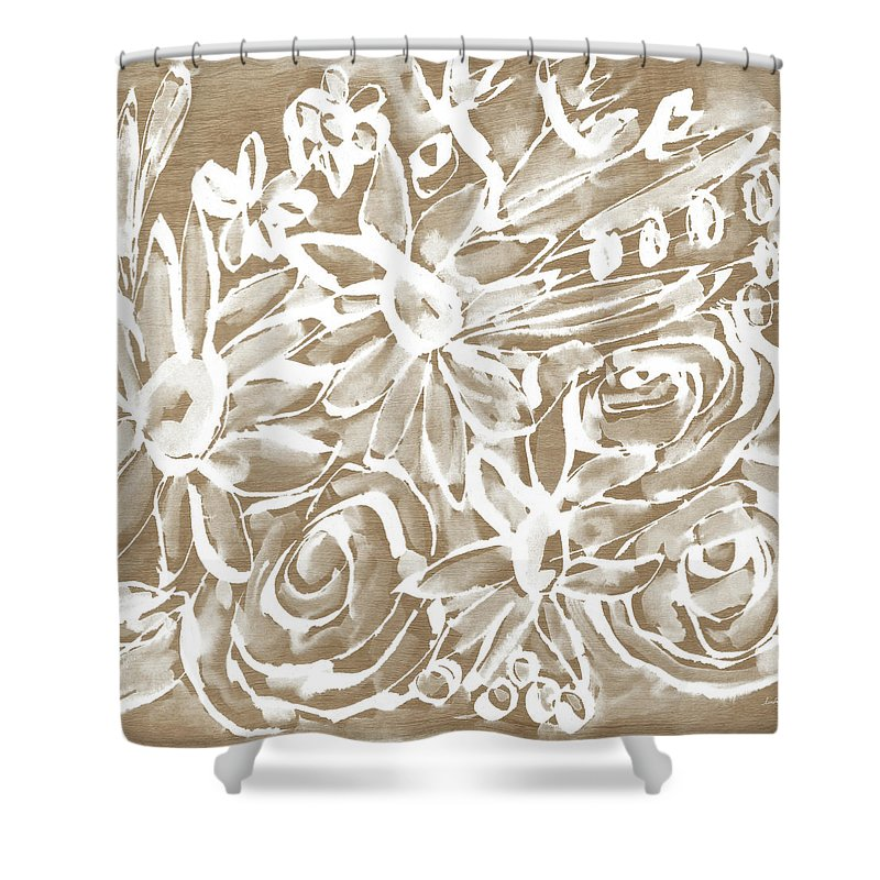 Wood Shower Curtain featuring the mixed media Wood And White Floral- Art By Linda Woods by Linda Woods