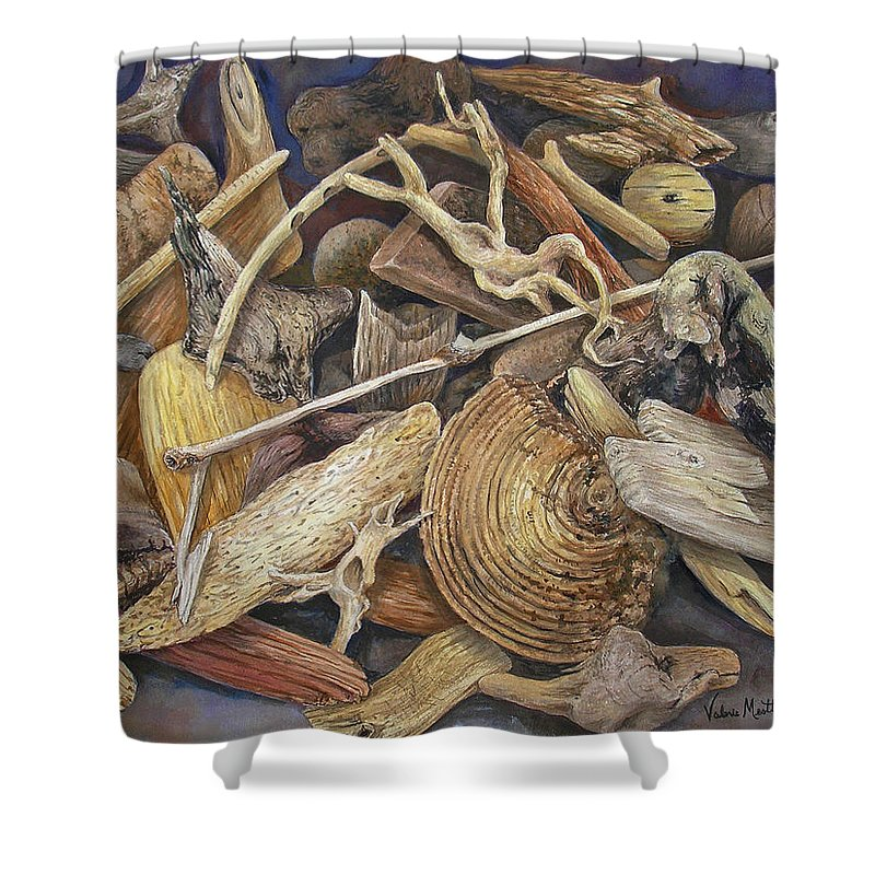 Driftwood Shower Curtain featuring the painting Wood Creatures by Valerie Meotti