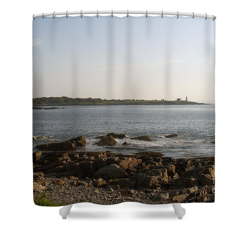 Wood Shower Curtain featuring the photograph Wood Island Lighthouse 1 by Ray Konopaske
