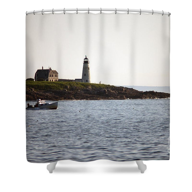 Wood Shower Curtain featuring the photograph Wood Island Lighthouse 3 by Ray Konopaske