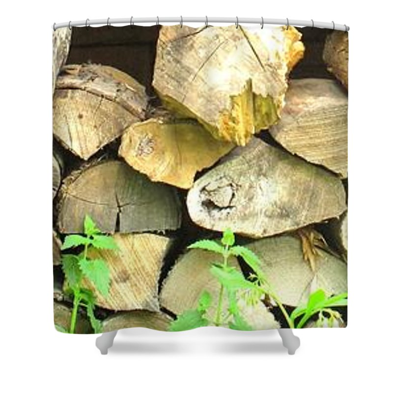 Wood Shower Curtain featuring the photograph Wood Pile by Ian MacDonald