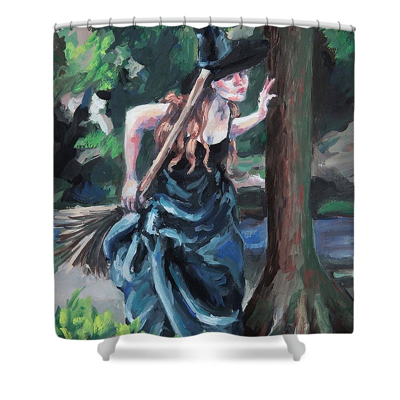 Figure Shower Curtain featuring the painting Wood Witch by Kelly Margo
