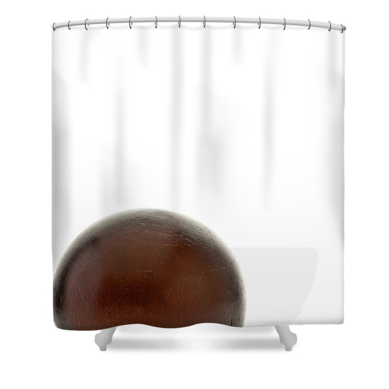 Ball Shower Curtain featuring the photograph Wooden Ball In A Corner by Onyonet Photo Studios
