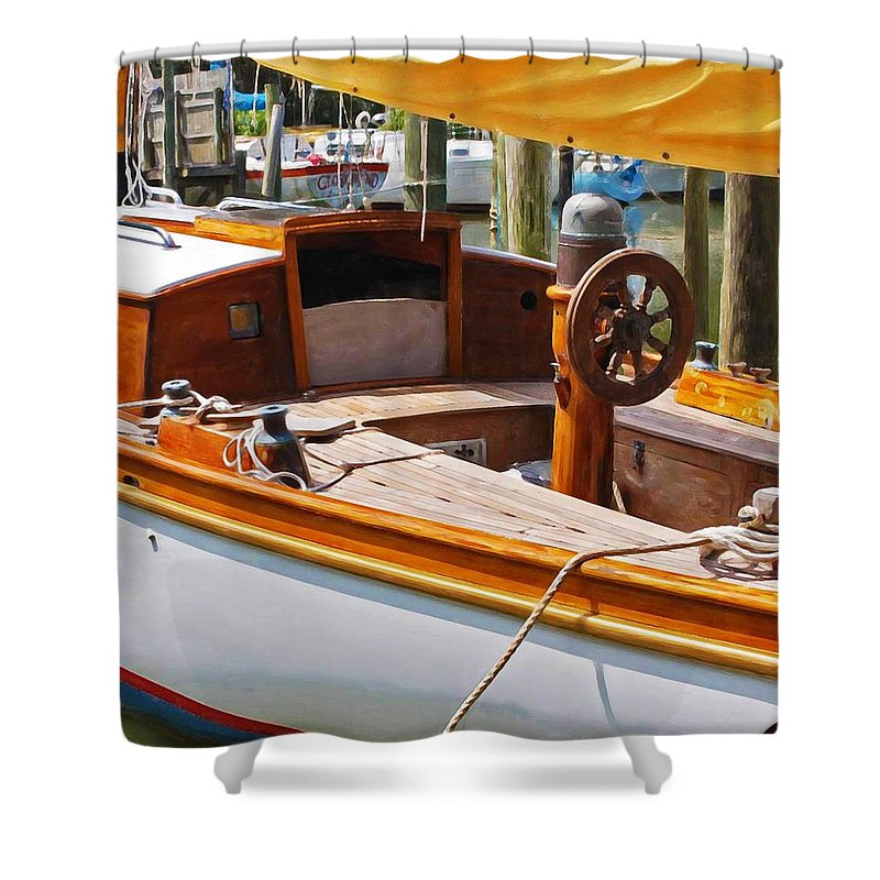Wooden Boat Shower Curtain featuring the painting Wooden Boat by Michael Thomas
