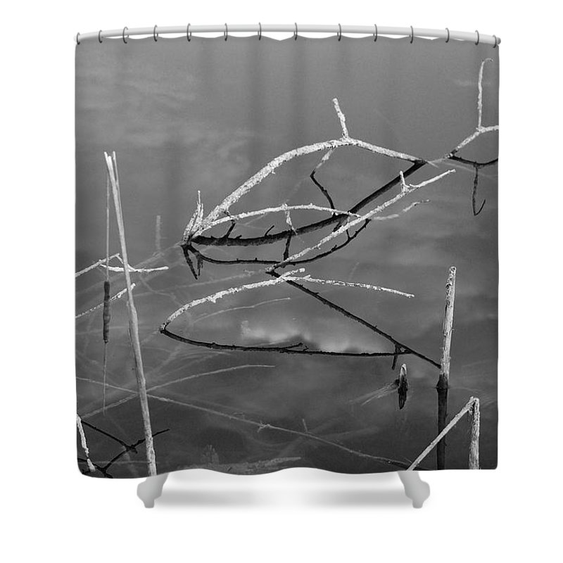 Black And White Shower Curtain featuring the photograph Wooden Bridge by Rob Hans
