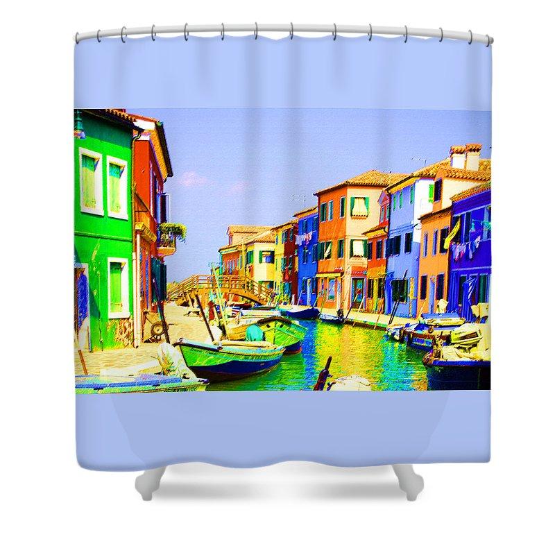 Burano Shower Curtain featuring the pastel Wooden Bridge To Despar by Donna Corless