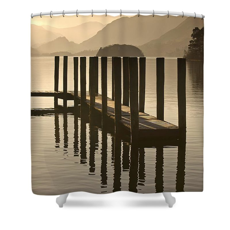 Wooden Dock In The Lake At Sunset Shower Curtain for Sale by John Short