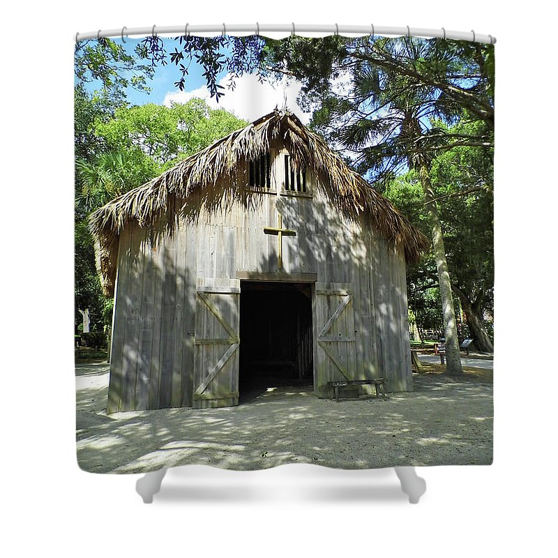 St Augustine Shower Curtain featuring the photograph Wooden Mission Of Nombre De Dios by D Hackett