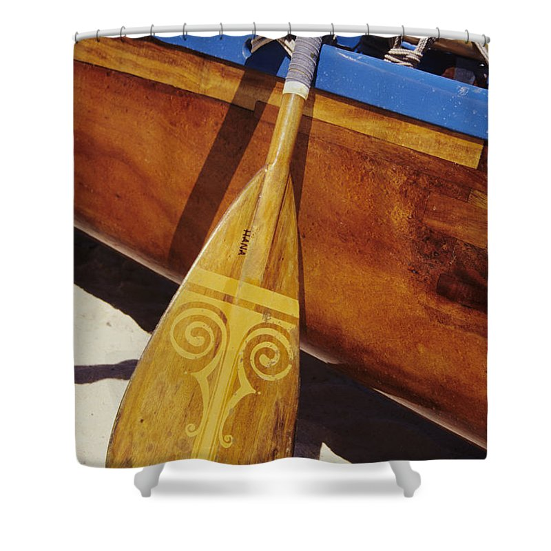 Aku Shower Curtain featuring the photograph Wooden Paddle And Canoe by Joss - Printscapes