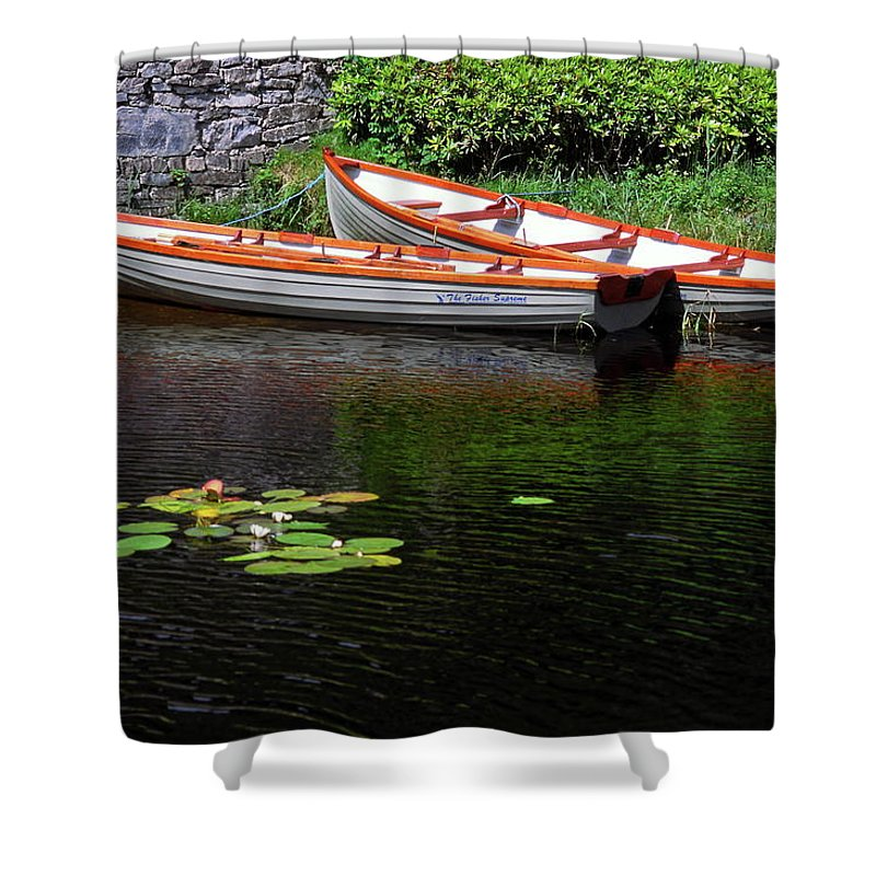 2 Wooden Rowboats Shower Curtain featuring the photograph Wooden Rowboats by Sally Weigand