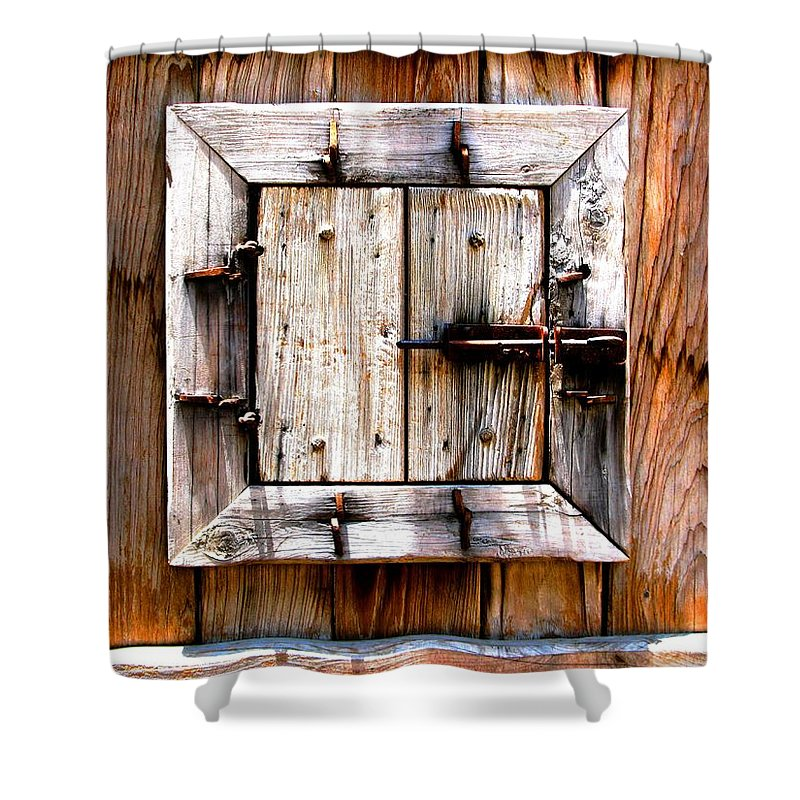 Wood Shower Curtain featuring the photograph Wooden Window by Perry Webster
