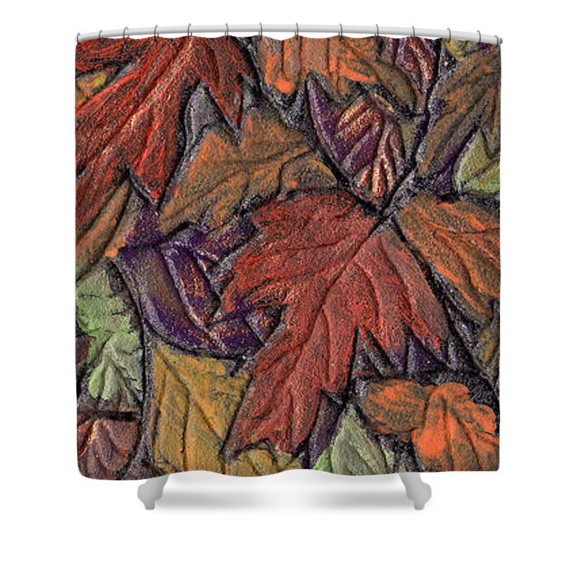 Autumn Shower Curtain featuring the painting Woodland Carpet by Wayne Potrafka