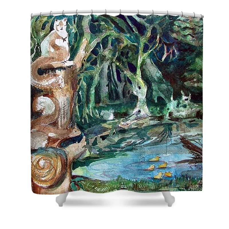 Squirrels Shower Curtain featuring the painting Woodland Critters by Mindy Newman