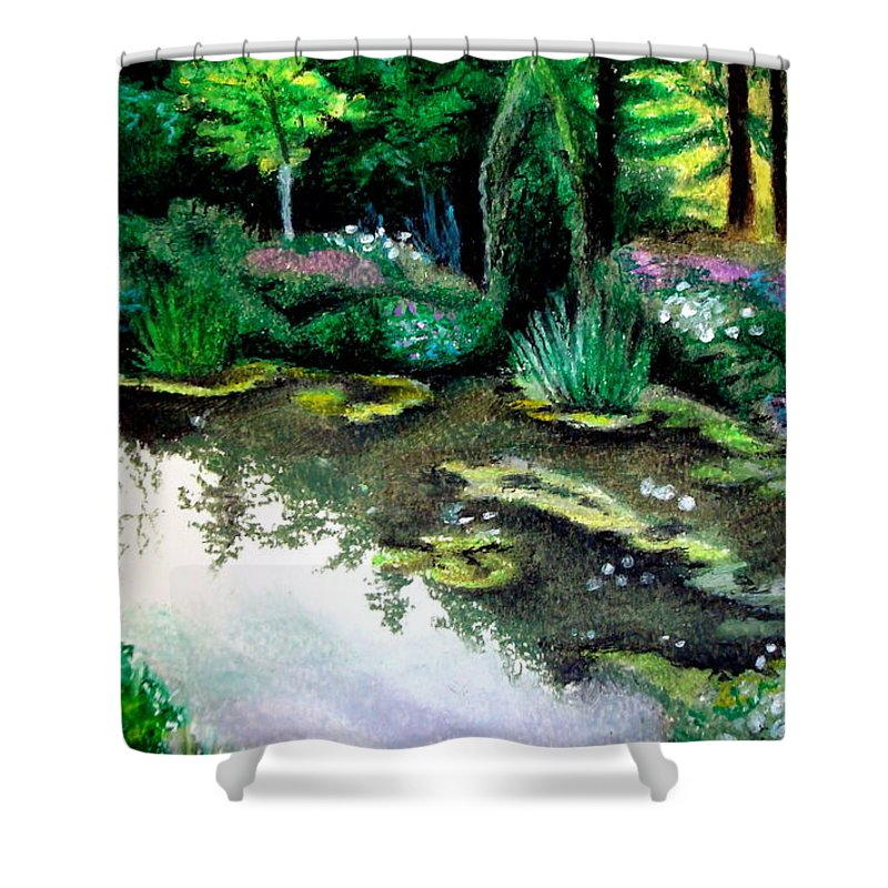 Landscape Shower Curtain featuring the pastel Woodland Mystery by Elizabeth Robinette Tyndall