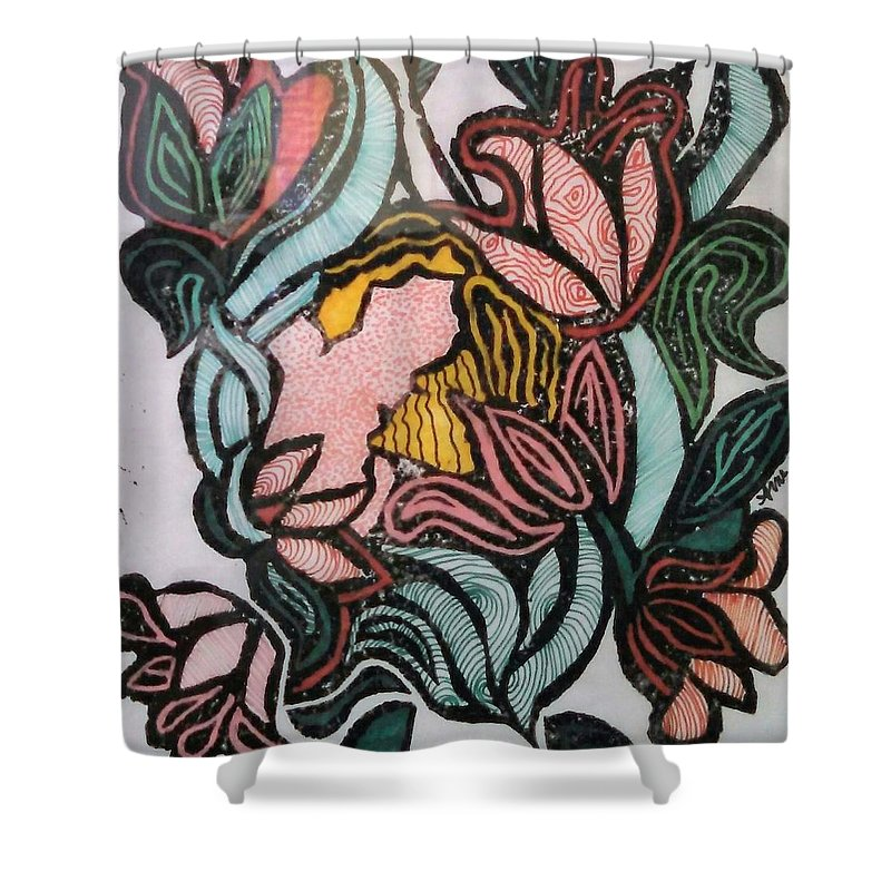 Flower Shower Curtain featuring the drawing Woodland Nymph 1 by Anne Robinson