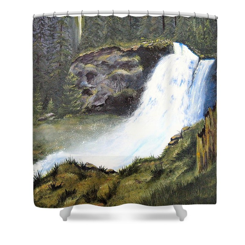 Forest Shower Curtain featuring the painting Woodland Respite by Karen Stark