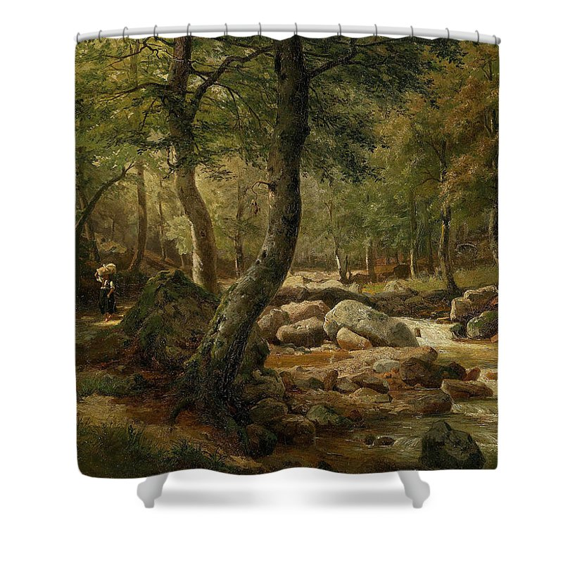 Marie Helene Strohmeyer (1834-1934) Countrywoman By A Woodland Stream Shower Curtain featuring the painting Woodland Stream by MotionAge Designs