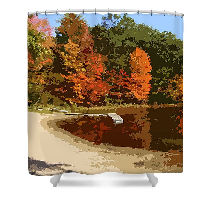 Autumn Shower Curtain featuring the photograph Woodlands On The Lake by Michelle Calkins