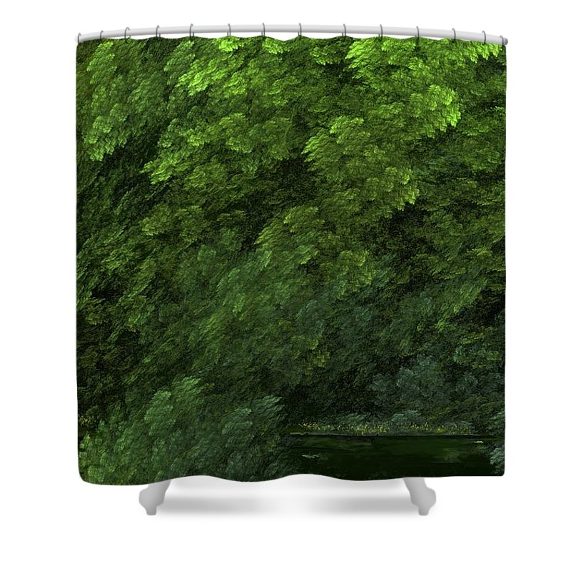 Digital Painting Shower Curtain featuring the digital art Woods And Stream by David Lane