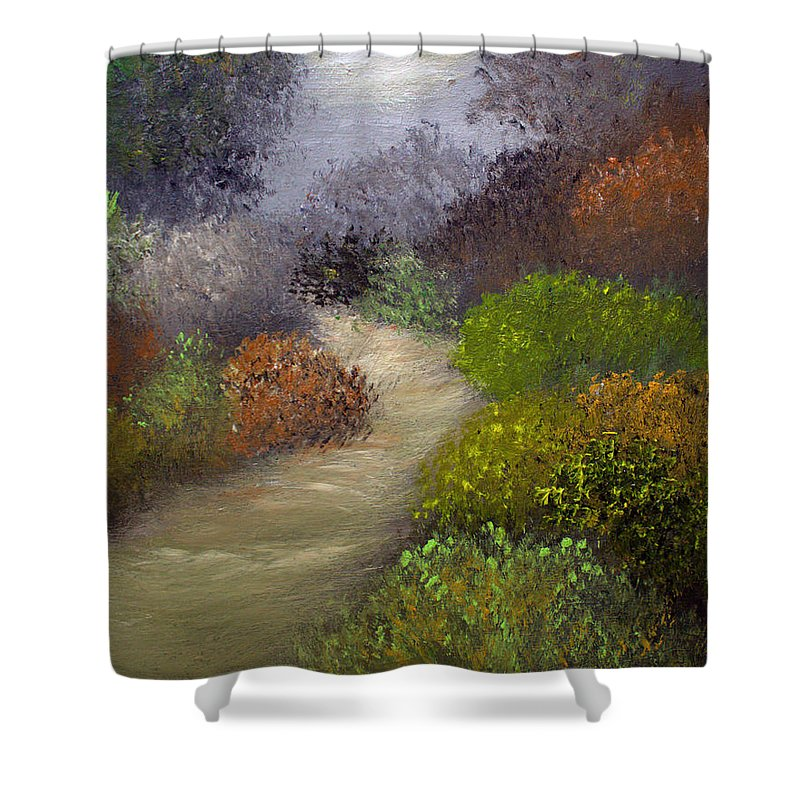 Landscape Shower Curtain featuring the painting Woodsy Morning by Sandra Young Servis