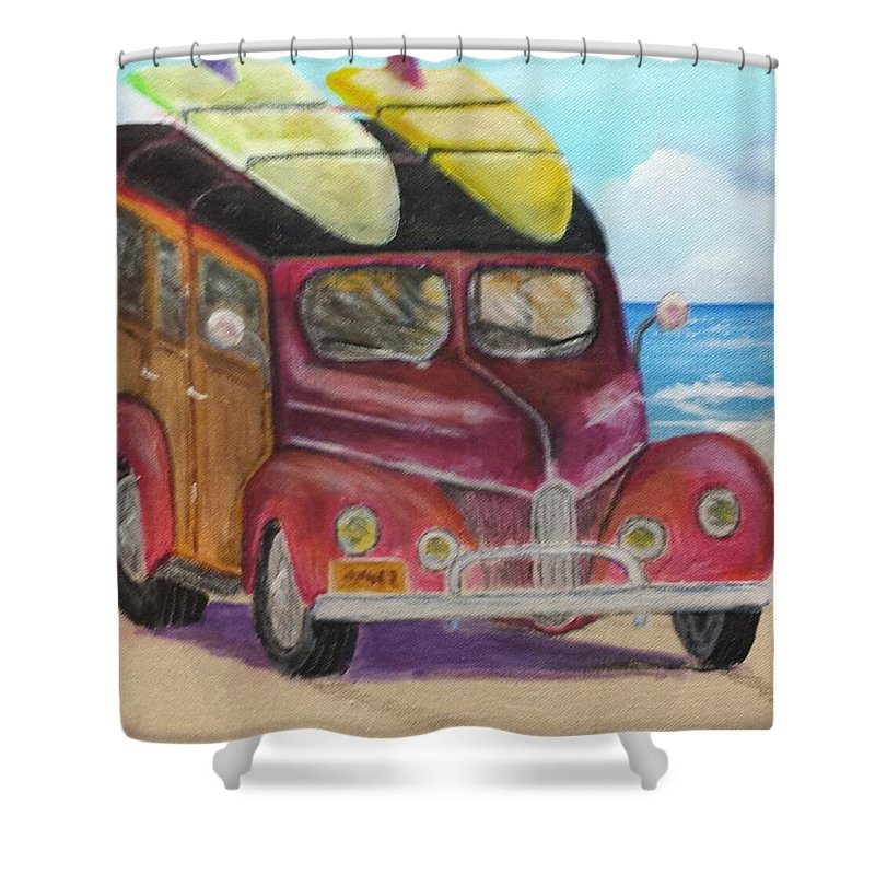 Woody Wagon Shower Curtain featuring the painting Woody On Beach by Douglas Harn