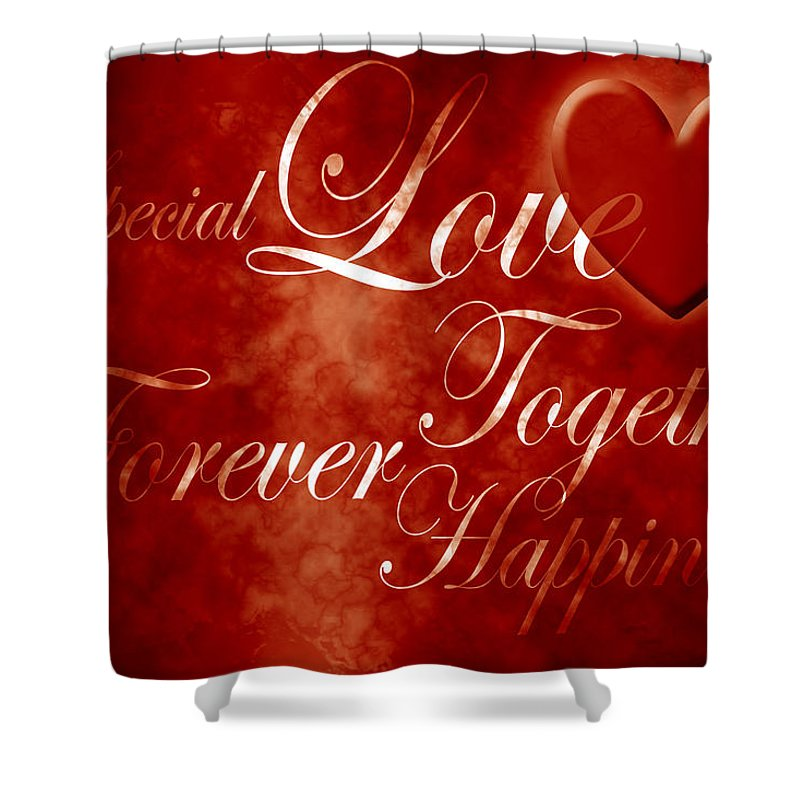 Love Shower Curtain featuring the digital art Words Of Love by Phill Petrovic