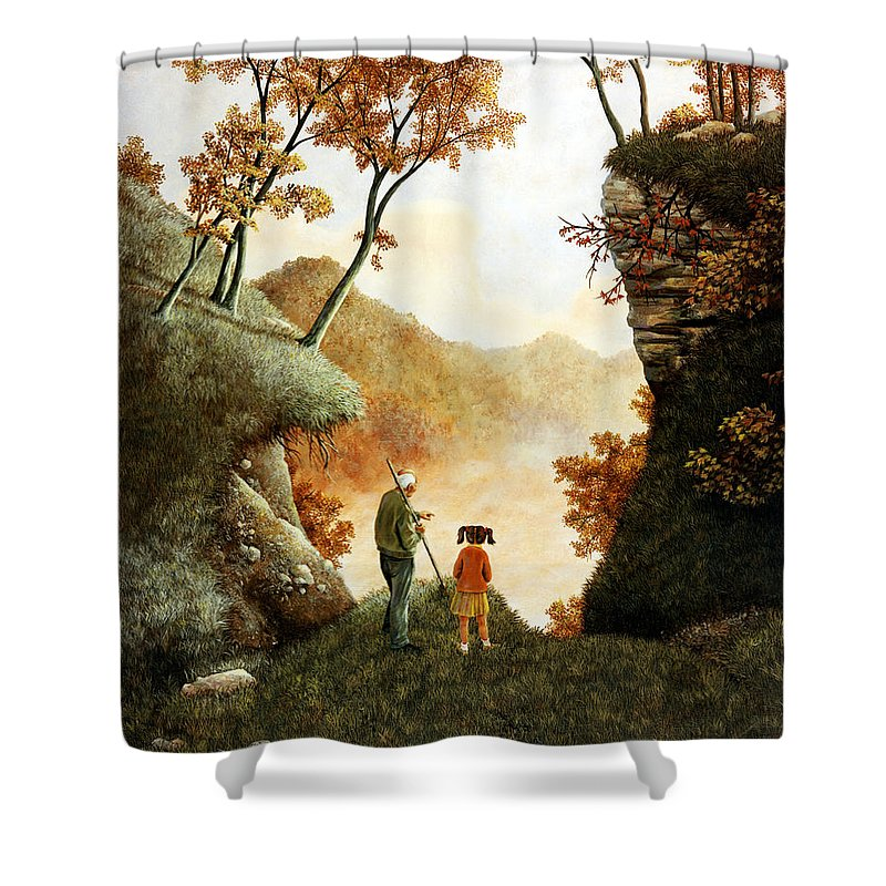 Mountain Shower Curtain featuring the painting Words Of Wisdom by Duane R Probus