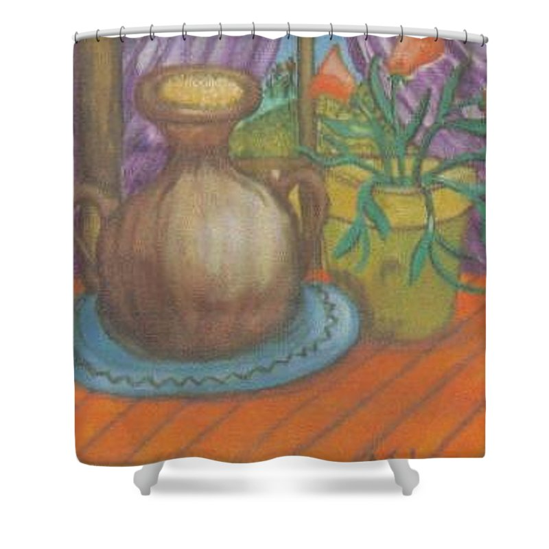 Still Life Shower Curtain featuring the painting Work by Andrew Johnson