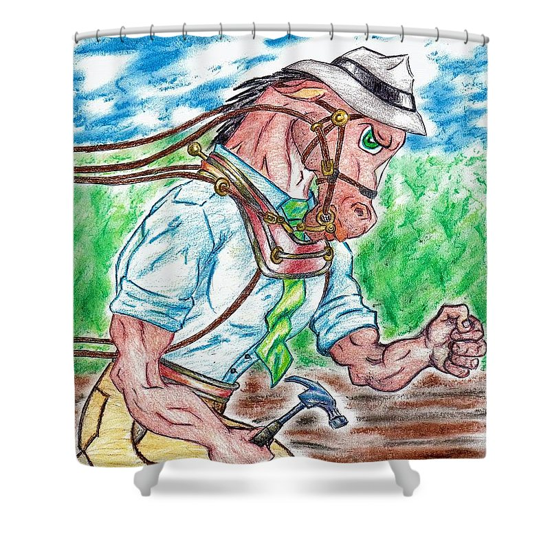 Horse Shower Curtain featuring the drawing Work Horse by Bryant Lamb