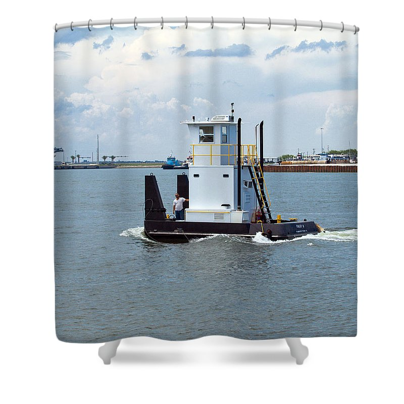 Florida; Tug; Tugboat; Boat; Work; Workboat; Pusher; Push; Barge; Barges; Working; Float; Floating; Shower Curtain featuring the photograph Workboat At Port Canaveral In Florida by Allan Hughes
