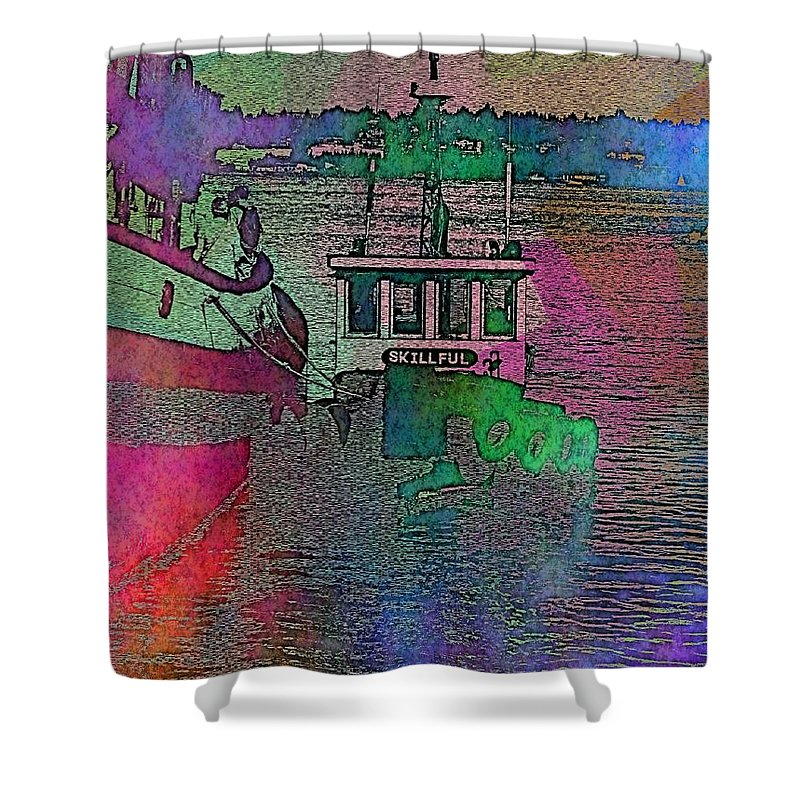 Tug Shower Curtain featuring the digital art Workhorse In The Mist by Tim Allen