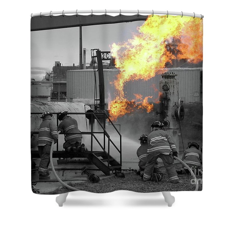 Firefighters Shower Curtain featuring the photograph Workin by Rick Monyahan