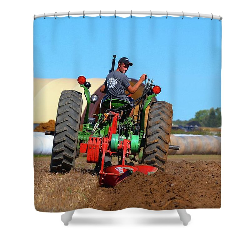 Farm Shower Curtain featuring the photograph Working His Plow by Lyle Crump