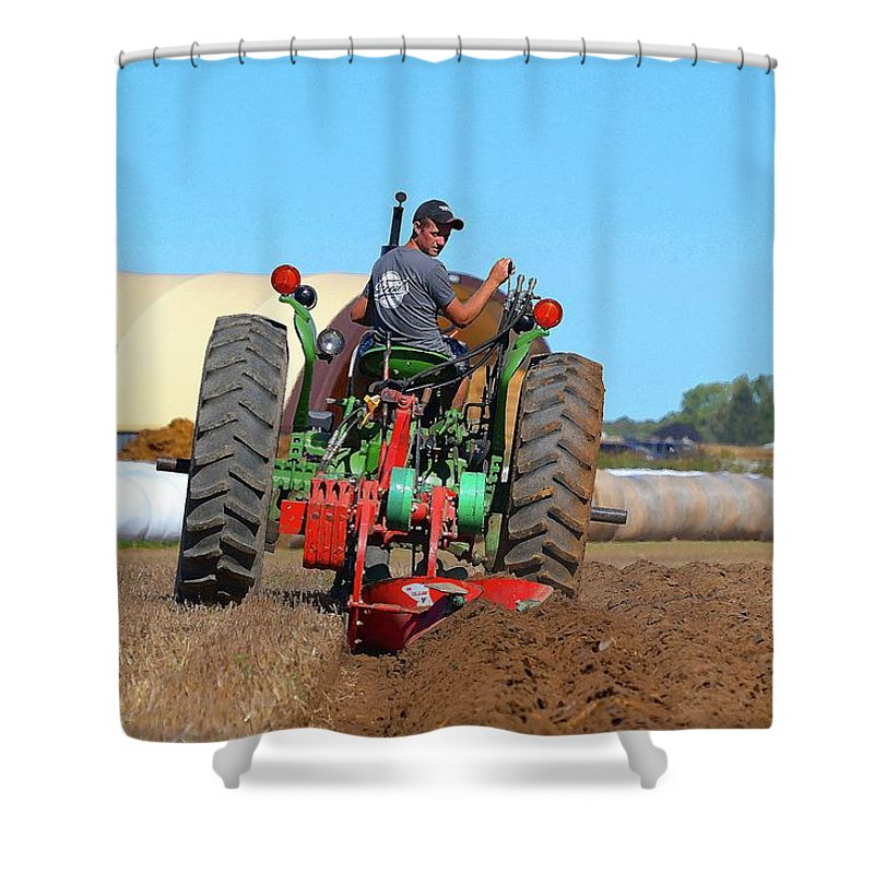 Farm Shower Curtain featuring the photograph Working His Plow Two by Lyle Crump