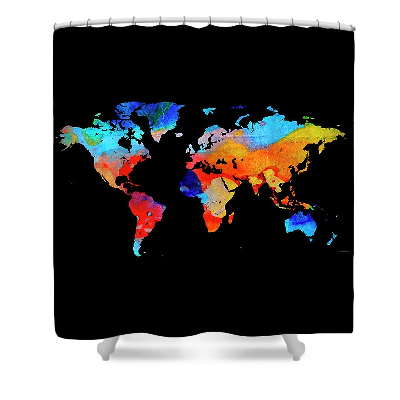 World map 18 black background shower curtain for sale by sharon cummings map shower curtain featuring the painting world map 18 black background by sharon cummings gumiabroncs
