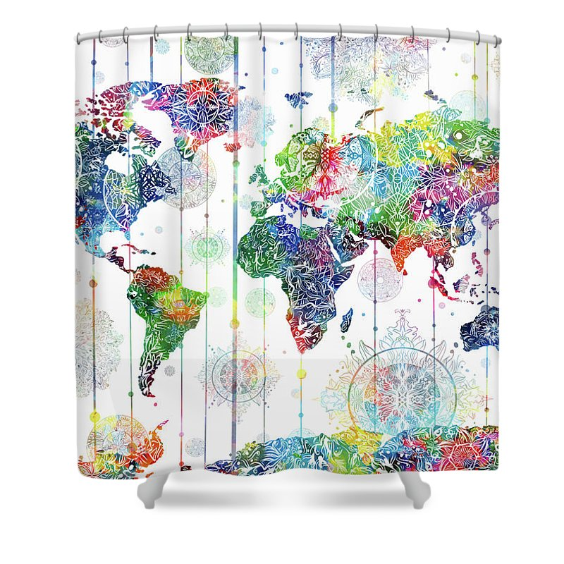 Map Of The World Shower Curtain Featuring Digital Art Mandala White 1 By