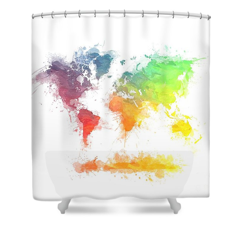 World Map Splash 4 Shower Curtain For Sale By Justyna JBJart