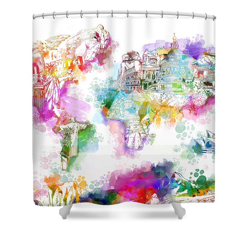 Map Of The World Shower Curtain Featuring Painting Watercolor Landmarks By Bekim Art