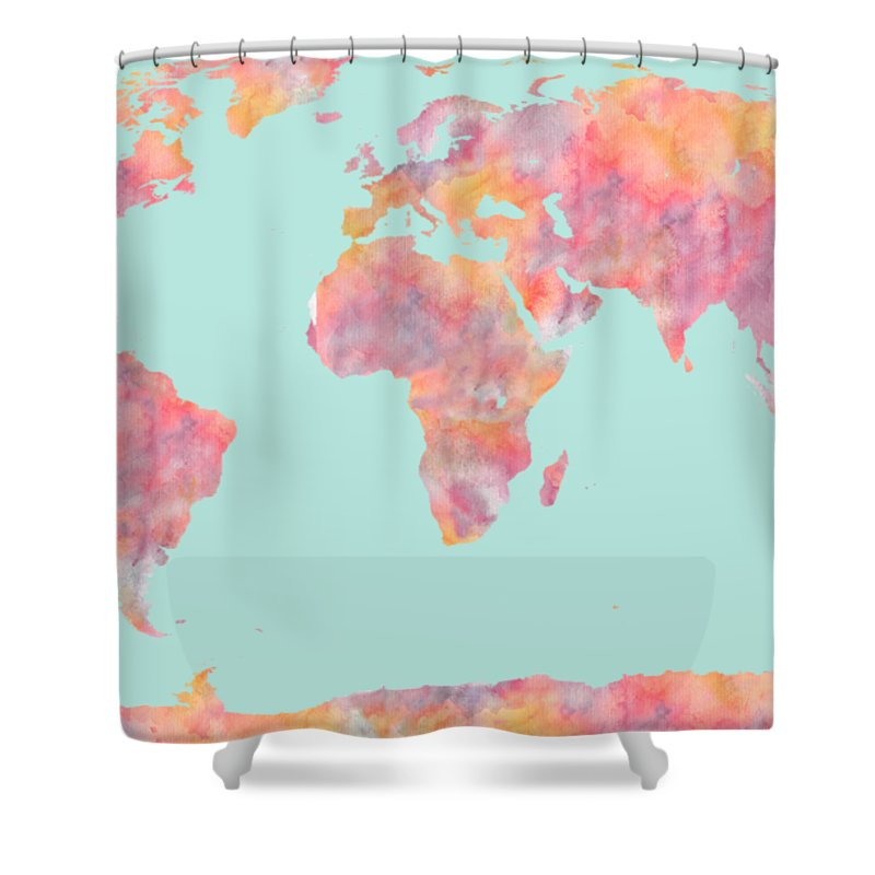 World Map Shower Curtain Featuring The Painting Watercolor By Georgeta Blanaru