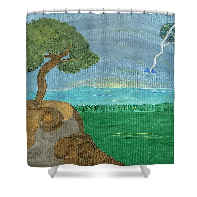 Landscape Shower Curtain featuring the painting World On A String by Sara Credito