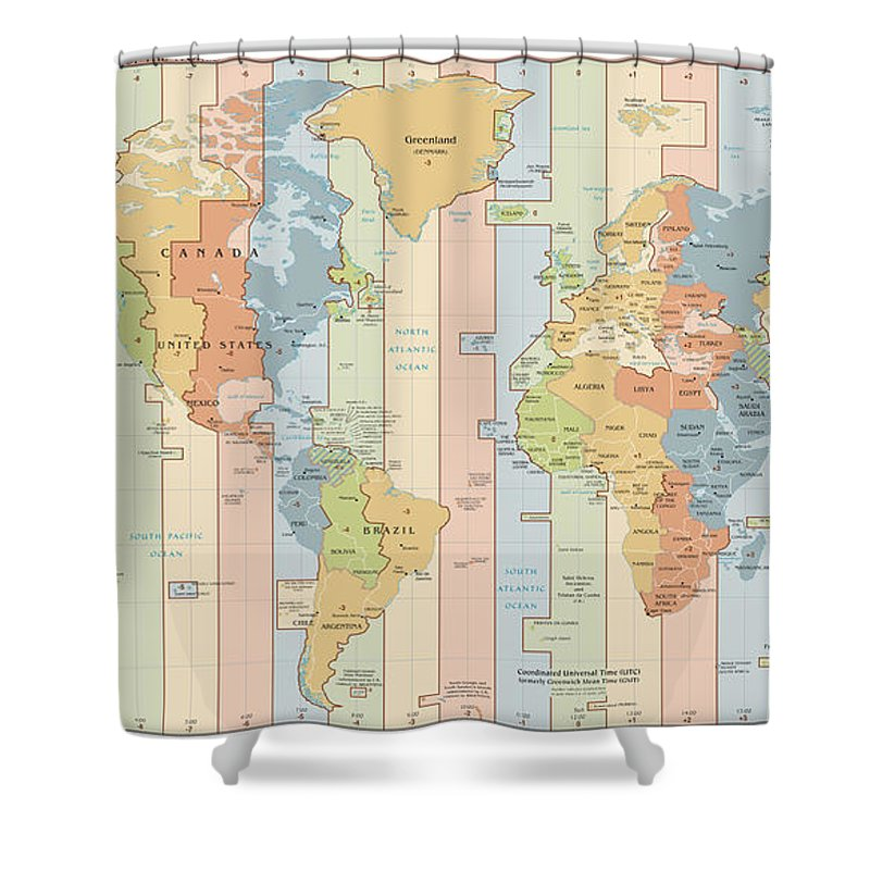 Universal Time Zone Map.World Time Zone Map Shower Curtain For Sale By Cartographyassociates