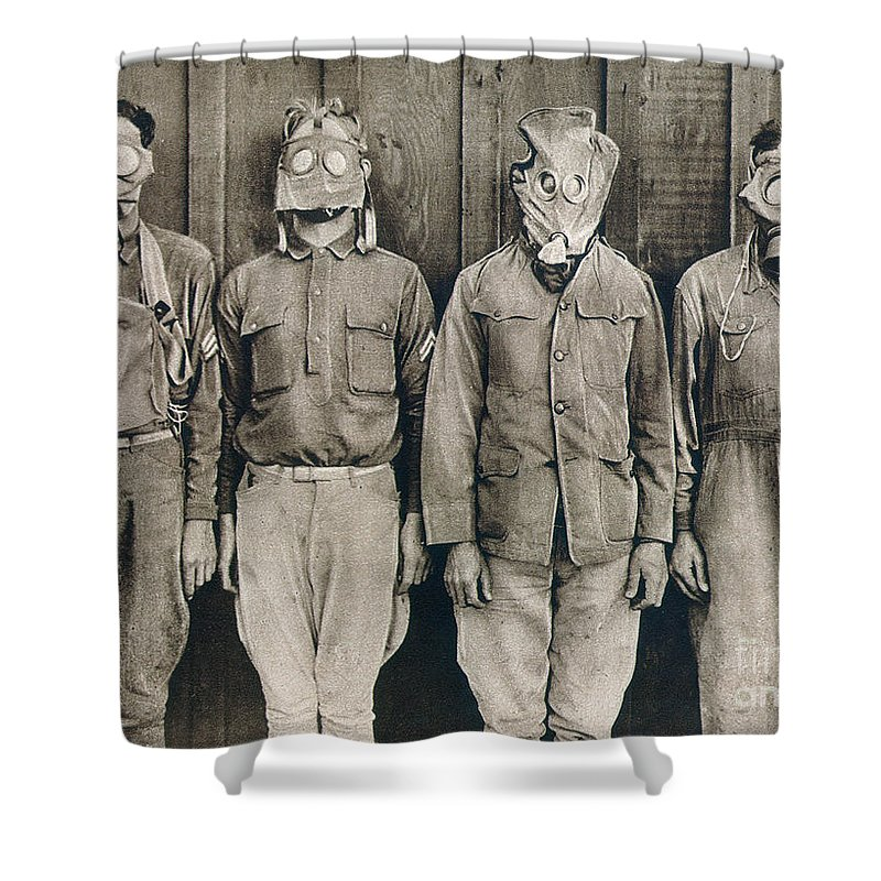 American Shower Curtain featuring the photograph World War I: Gas Warfare by Granger