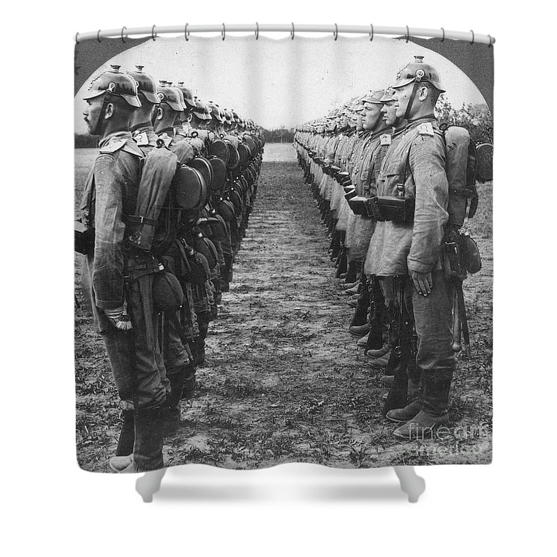 1914 Shower Curtain featuring the photograph World War I: German Troop by Granger