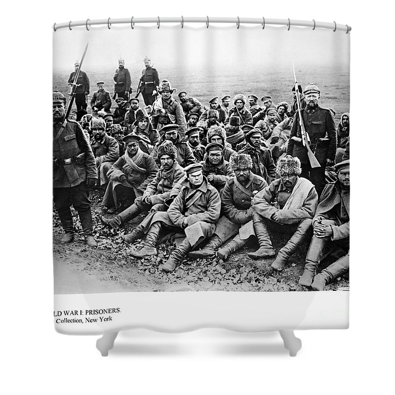 1914 Shower Curtain featuring the photograph World War I: Prisoners by Granger