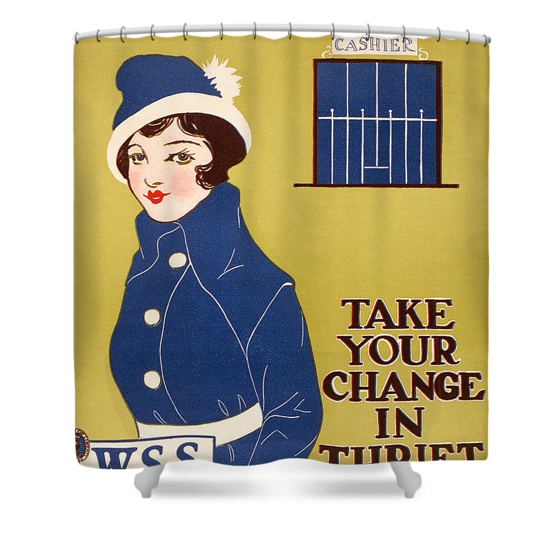 1917 Shower Curtain featuring the photograph World War I: Thrift Stamps by Granger