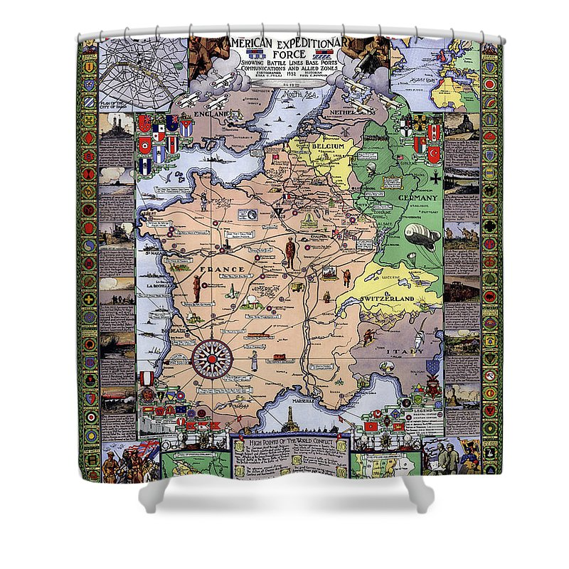 War Shower Curtain featuring the photograph World War One Historian's Panel by Daniel Hagerman